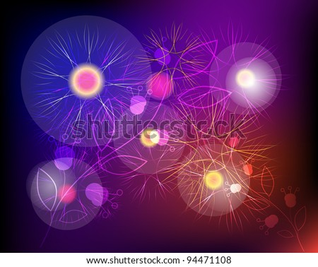 Abstract background with floral. Vector.