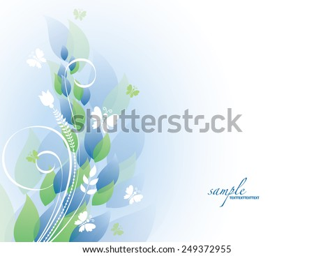 Abstract Background with Flowers and Butterflies. - stock vector