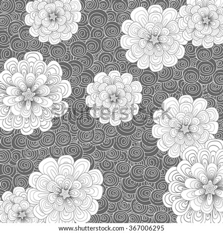 Abstract background with flowers and simple color combination. Patterns are drawn by hand. Japones doodle style. Place the pattern on your canvas and multiply.