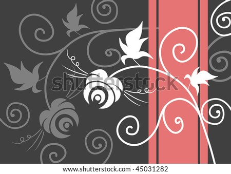 Abstract background with flowers and swirls, vector illustration - stock vector