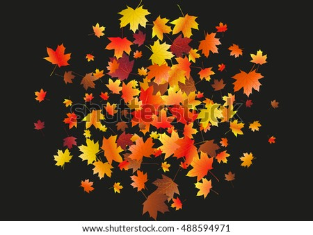 Abstract background with flying maple leaves. Fall season greeting card, poster, flyer. Vector illustration isolated on a black background.