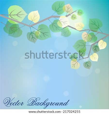 abstract background with Fresh green leaves on natural background- vector illustration - stock vector
