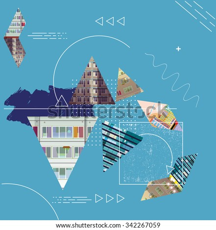 abstract background with geometric elements and building. Composition with triangles. Modern banner, message presentations or identity layouts - stock vector