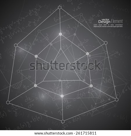 Abstract Background with geometric figure, mathematical formulas, calculations, graphs, proof, molecule structure and scientific research. genetic and chemical compounds. Surface for chalk boards - stock vector