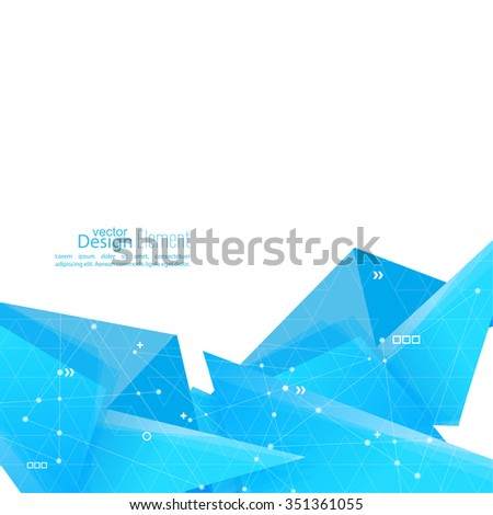 Abstract background with geometric shapes angled. Concept new technology and dynamic motion. Digital Data Visualization. For cover book, brochure, flyer, poster, magazine, booklet, leaflet. vector - stock vector