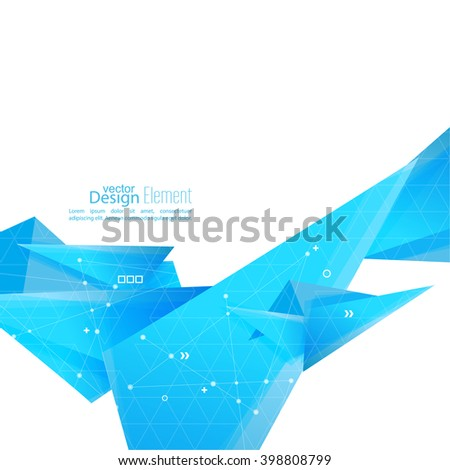 Abstract background with geometric shapes angled. Concept  technology and dynamic motion. Digital Data Visualization. For cover book, brochure, poster, magazine, booklet, leaflet. techno wave - stock vector