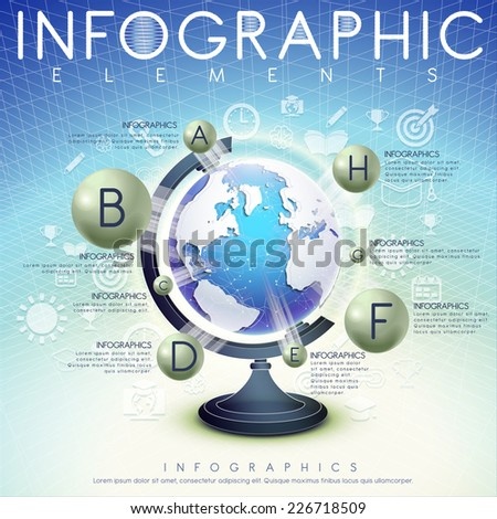 abstract background with globe and icons infographic elements design - stock vector