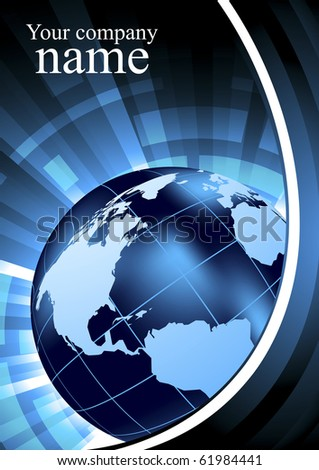 Abstract background with globe in blue color. Vector illustration - stock vector
