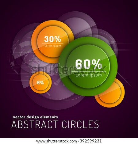 Abstract background with glossy circles. Vector design elements. Glossy buttons. - stock vector
