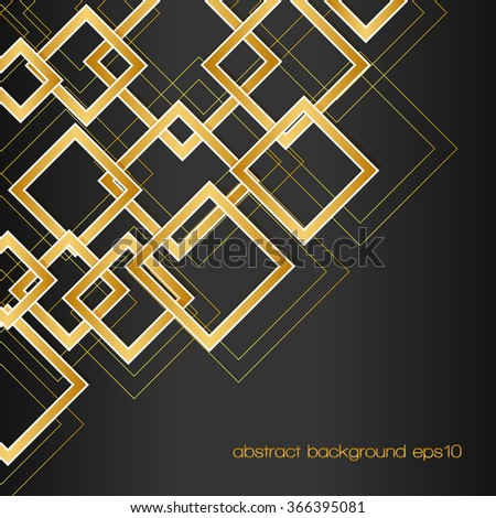 abstract background with golden rhombus frames and lines on black. vector template for your design - stock vector