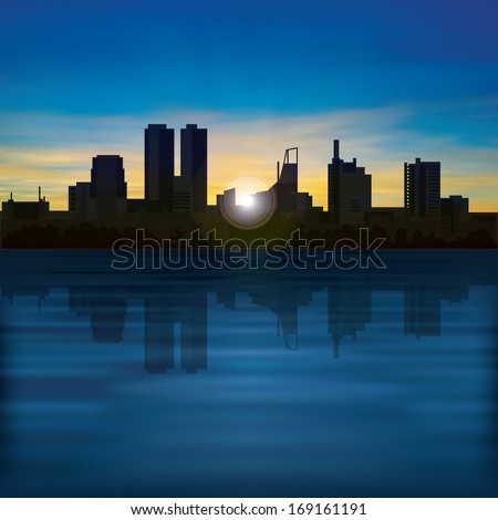 abstract background with golden sunrise and silhouette of city - stock vector