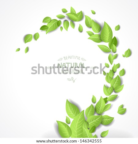 Abstract background with green leaves - stock vector