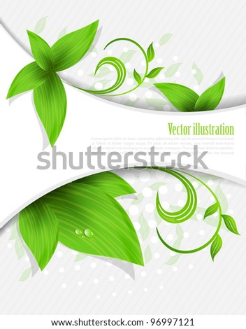 Abstract background with green leaves and lines - stock vector