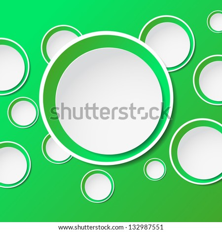 Abstract background with green paper  bubbles