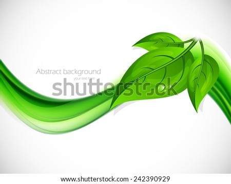 Abstract background with green wave and leaves - stock vector