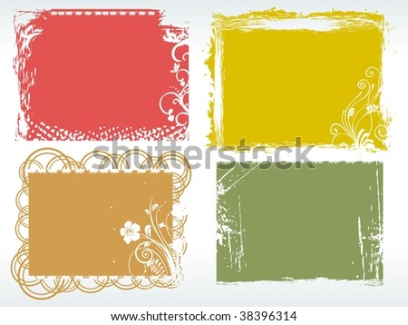 abstract background with grungy colorful frames - stock vector