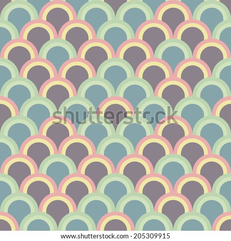Abstract background with half circles. Seamless vector pattern. Based on traditional Japanese Embroidery Ornament Sashiko. Pale Asian motif with fish Scales. - stock vector