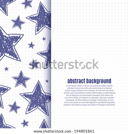 Abstract background with hand drawn stars on squared paper. Vector illustration