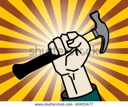 Abstract background with hand holding a hammer, vector illustration - stock vector