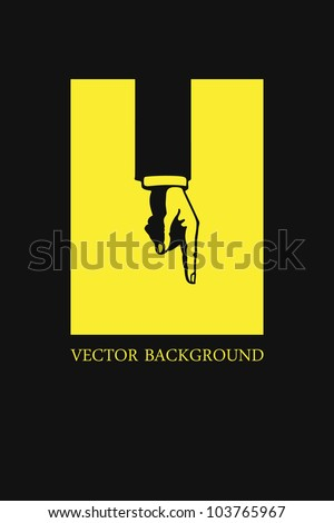 Abstract background with hand. Vector illustration.