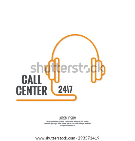 Abstract background with headphone. Icon. Call technical support. 24, 7. helpline, support service. Contacts. vector. Flat design. minimal, outline, pictogram  - stock vector