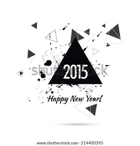 Abstract background with hipster triangles and ink splatter, black drop . Triangle pattern background. For cover book, brochure, flyer, poster, magazine, cd cover design. Happy new year. 2015 - stock vector