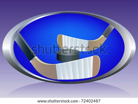 Abstract background with ice hockey sticks and puck. Vector illustration. - stock vector