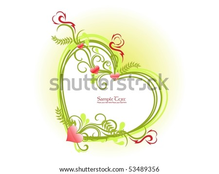 abstract background with isolated decorated romantic heart frame