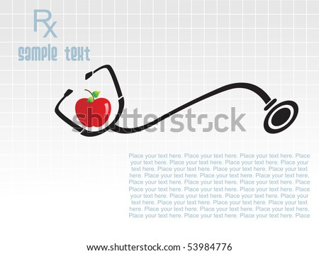 abstract background with isolated stethoscope in apple - stock vector