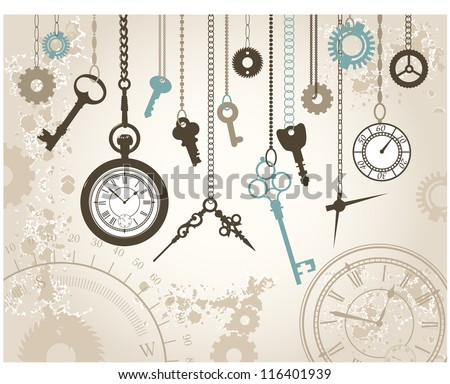 Abstract background with keys, watches and their parts hanging on chains