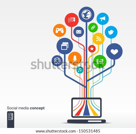 Abstract background with laptop, lines, circles and icons. Growth tree concept with social media, earth, network, computer, technology, like, mail, mobile and speech bubble icon. Vector illustration. - stock vector