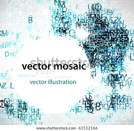 Abstract background with letters - stock vector