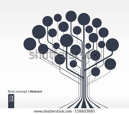 Abstract background with lines and circles. Brain concept for communication, infographic, business, medical, social media, technology, network and web design. Vector illustration. - stock vector