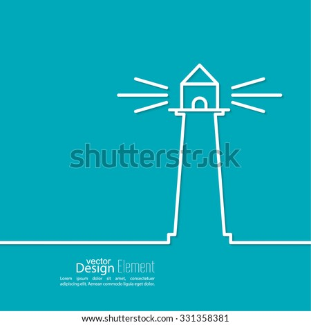 Abstract background with  luminous lighthouse. Flat design. minimal, outline. - stock vector