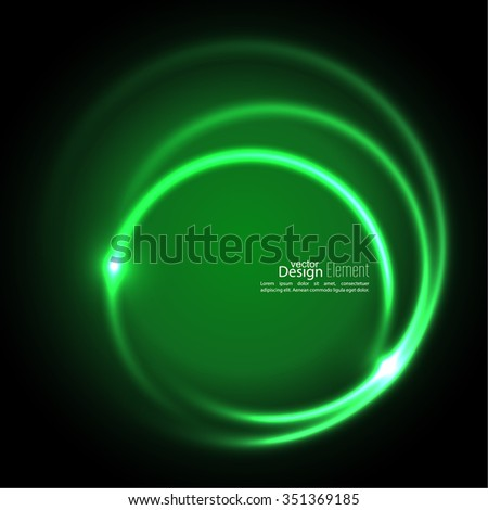 Abstract background with luminous swirling backdrop. Intersection curves. Glowing spiral. The energy flow tunnel. Vector. green - stock vector