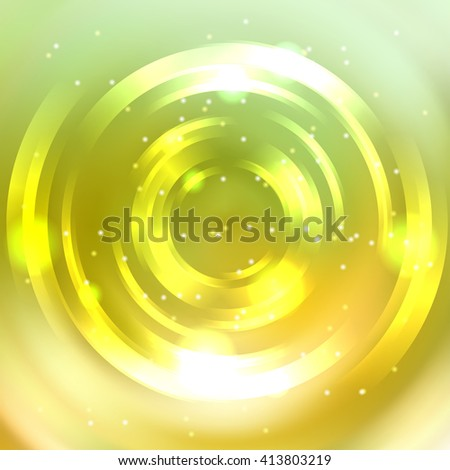 Abstract background with luminous swirling backdrop. Shiny swirl background.  Intersection curves. Yellow, green, white colors.  - stock vector
