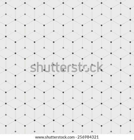 Abstract background with many hexagons with circles on vertices