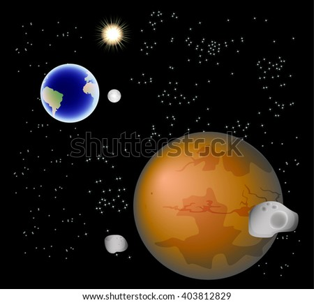 Abstract background with Mars, its satellites, earth, moon and sun. EPS10 vector illustration  - stock vector