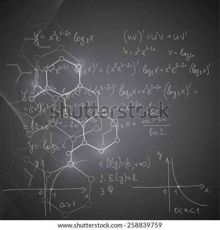 Abstract Background with mathematical formulas, calculations, graphs, proof, DNA molecule structure and scientific research.. genetic and chemical compounds. 
