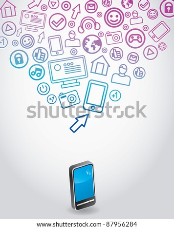 abstract background with mobile phone - vector illustration - stock vector
