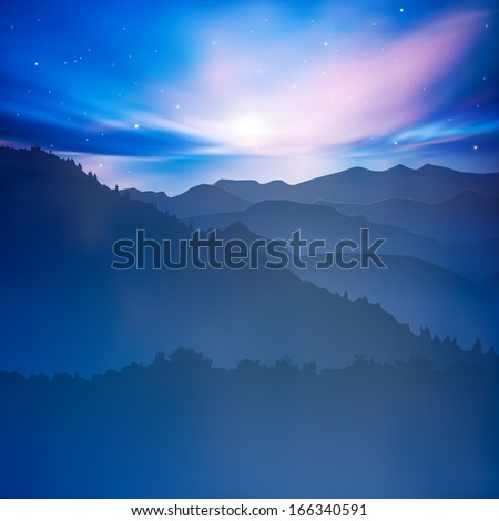abstract background with mountains and blue sunset - stock vector