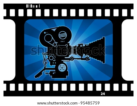 Abstract background with movie camera, vector illustration - stock vector