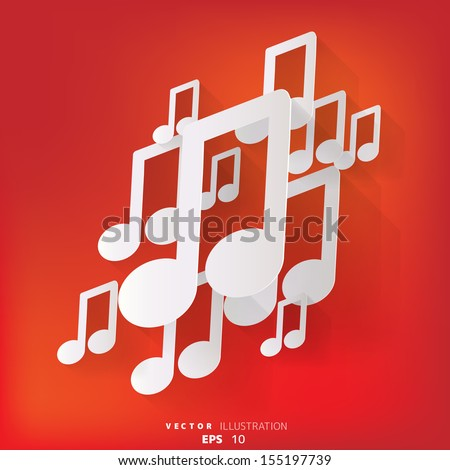 abstract background with music web icon,flat design - stock vector