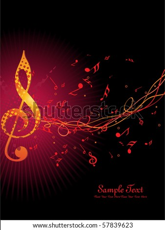 abstract background with musical notes - stock vector
