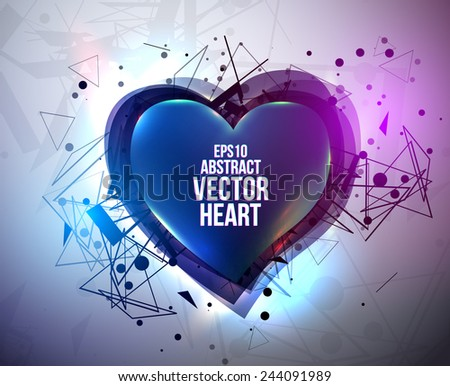 Abstract background with neon heart. Design for Valentine's Day party flyers. Vector illustration. - stock vector