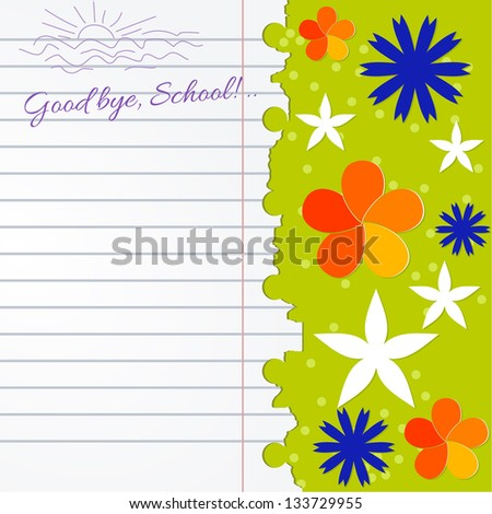 Abstract background with notebook and color flowers