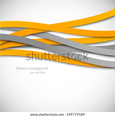 Abstract background with orange and gray lines - stock vector