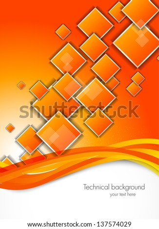 Abstract background with orange squares - stock vector