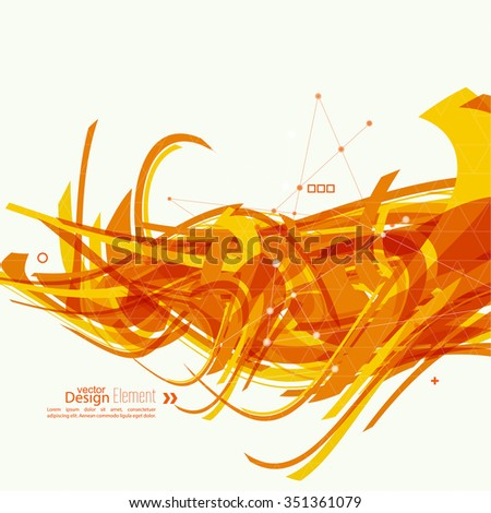 Abstract background with orange stripes, plus. Concept new technology and dynamic motion. Digital Data Visualization. Arc with symbols. Annual Report with information dots, circle, wave - stock vector