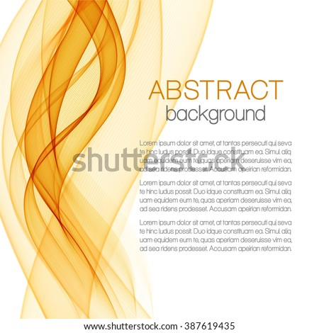 Abstract background with orange waves - stock vector